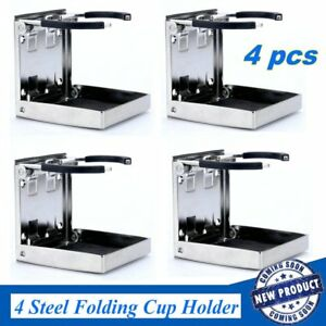 4pcs Stainless Steel Folding Cup Drink Holder Adjustable Marine Boat Truck Rv Hm