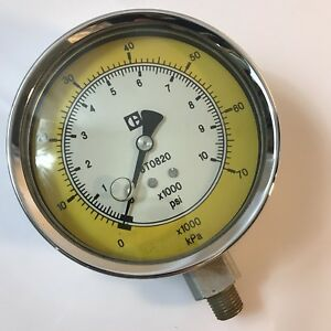 Vtg Brass Cat Caterpillar 8t0820 Kpa Pressure Gage Gauge 10000psi 4 Dia