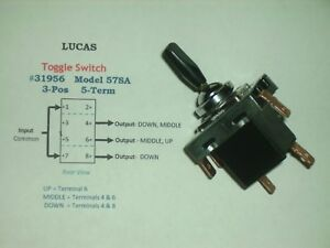 Lucas Vintage 31956 3 Pos 5 Term Toggle Switch