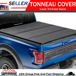 Lock Tri fold Hard Solid Tonneau Covers For 2009 2018 Ford F 150 8 Ft Long Bed