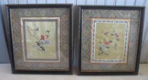 Pr Vtg Chinese Silk Stitch Embroidery Flowers Butterflies Framed Pictures Art