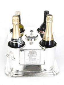 French Silver Plated 4 Bottle Wine Cooler Ice Bucket
