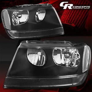 Pair Black Housing Clear Corner Headlight Lh Rh For 99 04 Jeep Grand Cherokee Wj