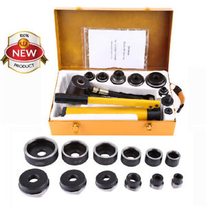 10 Ton Hydraulic Knockout Punch Hole Driver Kit Complete Tool Set With 6 Dies Us