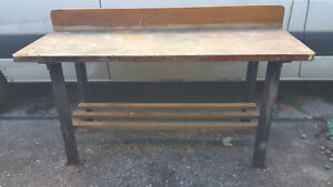Vintage Industrial Work Bench Wood Drafting Table Work Bench Kitchen Island