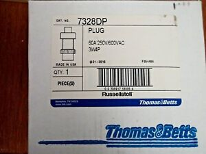 Russell stoll T b 7328dp 3p 4w 60a 250 600v Thermoplastic Pin Sleeve Plug
