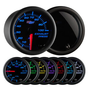 Glowshift Tinted 7 Color 100 Psi Exhaust Pressure Gauge Gs T723100
