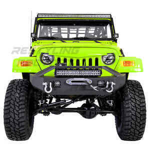 Front Bumper Winch Plate Led 21 Led Light Bar D Ring For 97 06 Jeep Wrangler Tj