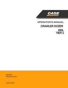 Case 650l Tier 3 Crawler Dozer Operators Operation Maintenance Manual
