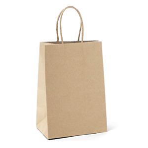 100pcs Vintage Brown Kraft Paper Bags With Handles Handle Wedding Gift Lot Craft