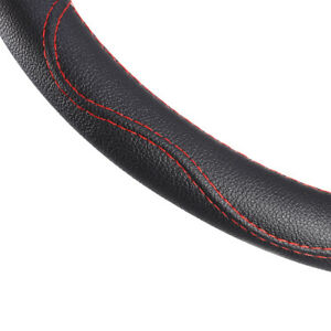 38cm Car Truck Steering Wheel Cover Pu Auto Car Cool Universal Black And Red