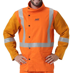 Ap 2730 Hi vis Fire Resistant Safety Welding Jacket W Cowleather Sleeves