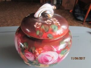 Limoges China Biscuit Cookie Jar 3 Footed Hand Painted 1970s