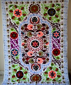 Suzani Embroidered Vintage Hand Quilt Twin Bedding Blanket Bohemian Throw Sz 56