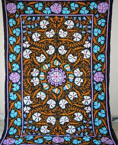 Suzani Embroidered Vintage Hand Quilt Twin Bedding Blanket Bohemian Throw Sz 57