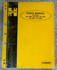 Hyster Challenger Forklift Parts Manual Rc 100 Rc 150 Rc 160 Sc 180 Tc 2oo