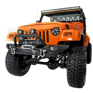 Rock Crawler Hd Front Bumper winch Plate 2x Led Light For 97 06 Jeep Wrangler Tj