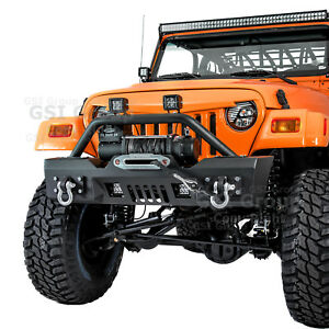 Stubby Front Bumper winch Plate 2x Led Light d rings For 97 06 Jeep Wrangler Tj
