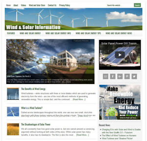 Wind And Solar Energy Website Business For Sale W Auto updating Content