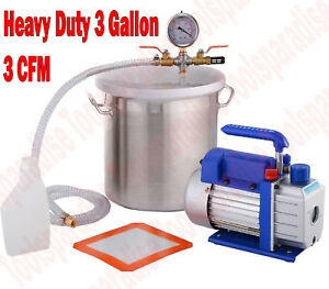 3g Heavy Duty Degasser Vacuum Chamber Pump Degassing Hash Oil Extractor Hvac Kit