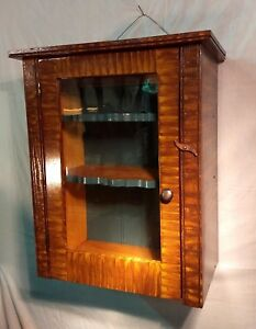 Primitive Rustic Faux Tiger Maple Grain Painted Medicine Wall Cabinet By R