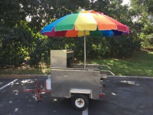 Stainless Steel Hot Dog Cart Tralier 3 Burners Sink Umbrella Will Ship