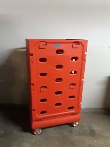 Red Plastic Rolling Cart On 4 Locking Wheels 58 X 31 X 26 1 2