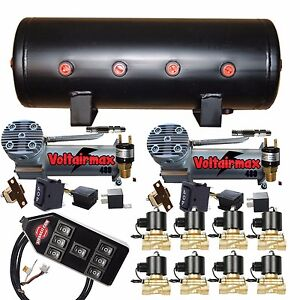 Air Compressors Voltair 480c 3 8 Valves Air Bag Management 9 gal Blk 7 Switch