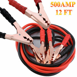 12 Ft Gauge Heavy Duty Power Booster Cable Emergency Car Battery Jumper Us Ap