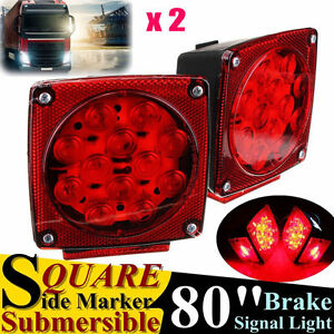 Red Led Submersible Sq Trailer Lights Kit Under 80 Stop License Tail Brake To