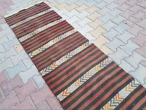 Hallway And Stair Runner Handmade Pastel Color Striped Kilim Rug 2 4 X 18 4