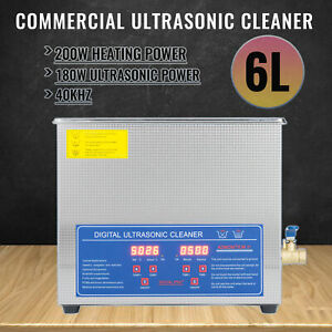 Brand New 6l Ultrasonic Cleaner Stainless Steel Industry Heated Heater W timer