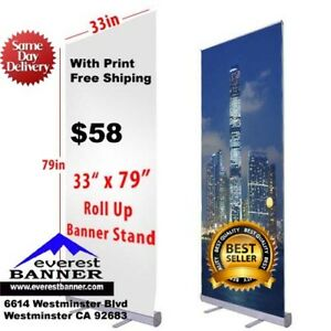 Banner Roll Up Banner 33 x79 Full Color With Free Print