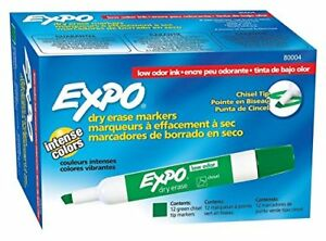 Expo Dry Erase Markers Low odor Chisel Tip 12 Markers pack Green 80004