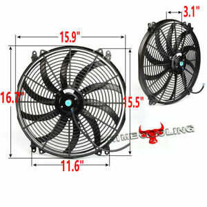 16 Push Pull Electric Radiator Cooling Fan Assembly Kit 2500cfm Us