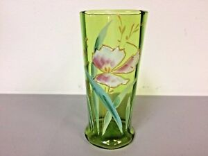 Antique Hand Painted 8 Panel Green Glass Tall Tumbler Enameled Flower Decoation