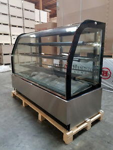 New 71 Curved Glass Stainless Steel Deli Cake Display Refrigerator Full Size