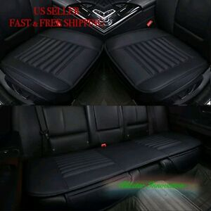 Car Seat Cushion 4 Seasons Pu Leather Bamboo Charcoal Car Seat Cover Pad Mat 3pc