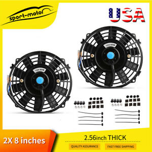 Dual 8 inch Universal Slim Electric Cooling Fan Reversible Push Pull 12v 80w