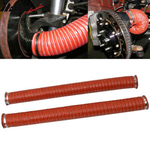 Universal Brake Cooling Dual Layer Insulation Hose W Flange 3 5 Inch 2 Pc