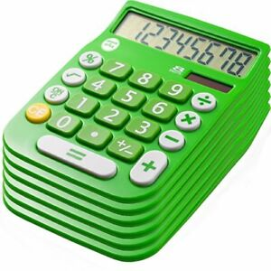 Office Style 8 Digit Dual Powered Calculator Large Lcd Display Green Pack Of 6