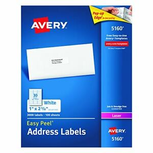 Avery Easy Peel Address Labels Laser Printer 1 X 2 5 8 White 3000 Per Box 5160