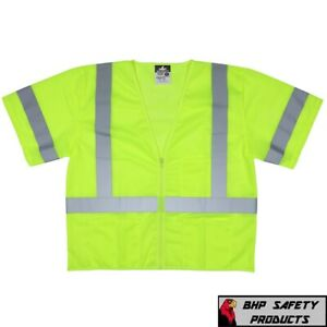 Class 3 Iii Hi vis Lime Traffic Safety Vest Reflective Mesh Construction M 4xl