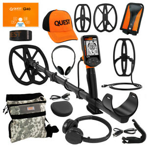 Quest Q40 Metal Detector Pack W 2 Coils Hat Wireless Hp Pouch And Cover