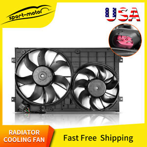 Dual Condenser Cooling Radiator Fan Assembly For Vw Rabbit Jetta Passat Golf