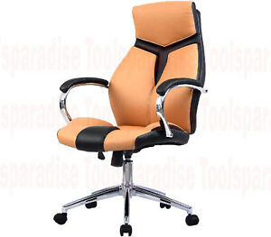 Modern Bycast Leather Executive Desk Office Chair Sleek Two Tone Color Chair