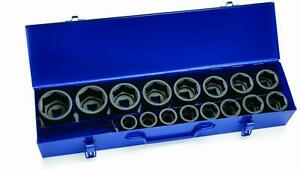 16 piece 3 4 Drive Shallow 6 pt Impact Socket Set With Metal Box Sae Williams