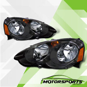 For 2002 2003 2004 Acura Rsx Dc5 Type S Black Headlights Amber Reflector Pair