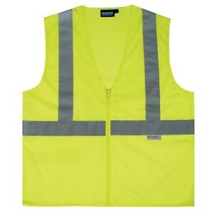 Erb 14631 S15z Ansi Class 2 Zippered Mesh Safety Vest With Pockets Lime 5x Large
