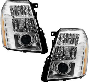 Hid Headlights Headlight Assembly W bulb Pair Set For 07 08 Cadillac Escalade